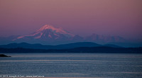 Looking over Juan de Fuca Strait to Mount Baker after sunset