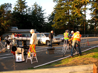 RASC members setting up telescopes in the parking lot