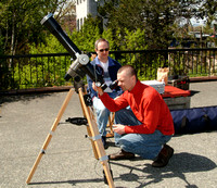 Joe Carr & Mark Wheen observing the Sun through Guy Walton's refractor