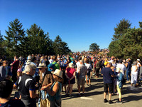 Crowd at solar eclipse viewing event atop Mt. Tolmie