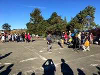 Crowd gathering at solar eclipse viewing event atop Mt. Tolmie