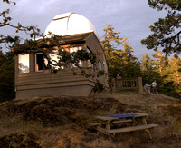 Godin Newton Observatory in the late afternoon sunlight