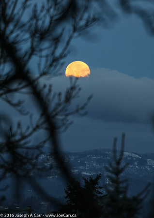 The setting Full Moon over the Highlands
