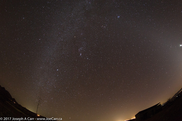 Fisheye view of the southern night sky from Dragoon Mountains Ranch in southern Arizona