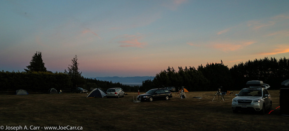 Campers on the observing field at dusk