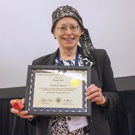 Diane Bell with her Messier Certificate