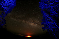 Milky Way over Kilauea Volcano's lava