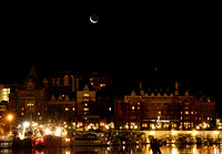 27 day old Moon over Victoria's Inner Harbour - Oct 24, 2011 6:00PM PDT