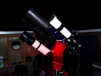 "The RASC-Victoria's 14"" Meade and ancilliary optics trained on the Moon for LCROSS"