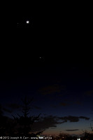 Conjunction of the Moon and Jupiter with Venus nearby and Mercury