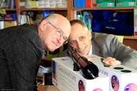 John McDonald and Tom Ferris with Galileoscopes